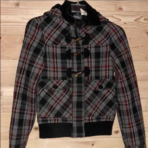 Billabong Plaid Wool Jacket w/Removable Hood